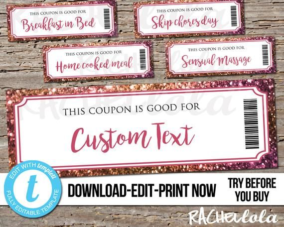 Editable Custom Printable Pink Glitter Coupon Template Gift Certificate Valentine Birthday Mothers Coupon Template Templates Printable Free Birthday Coupons