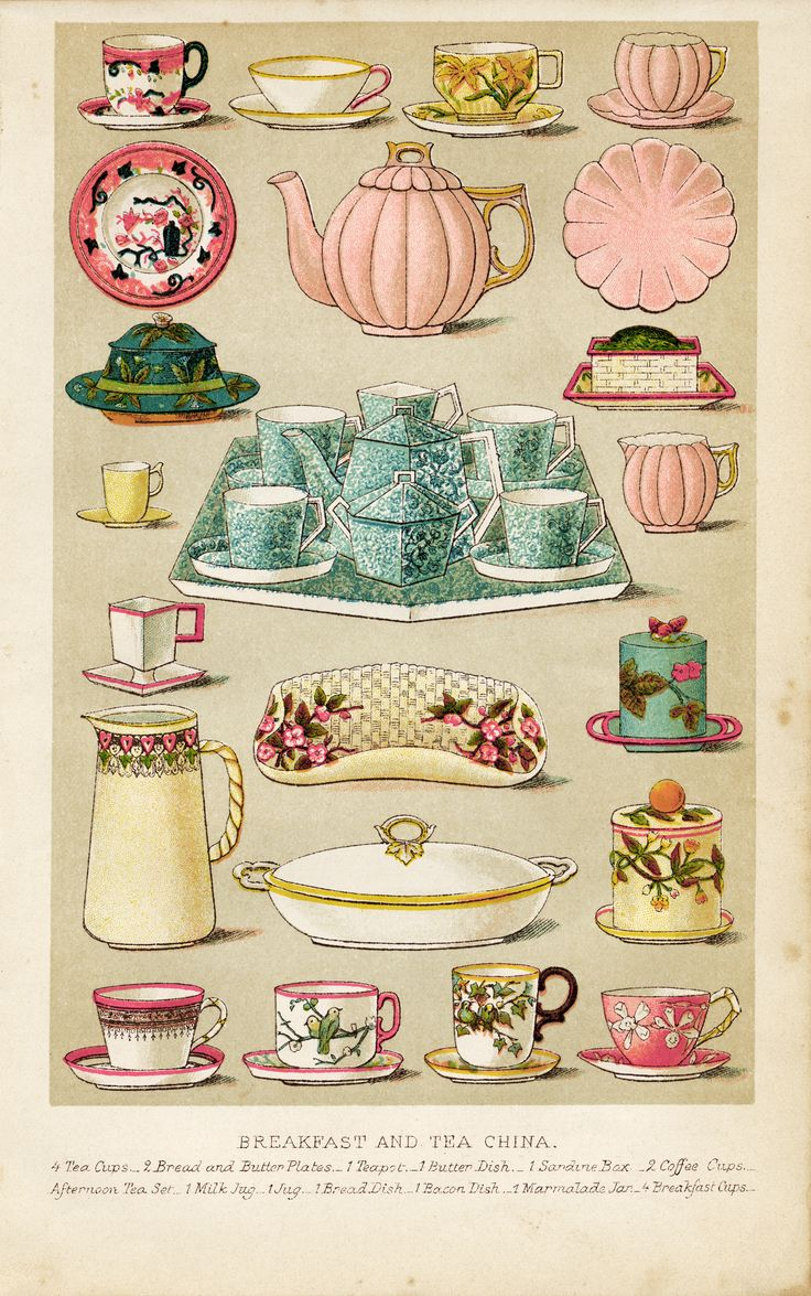 Breakfast and Tea China- Pastels- Mrs. Beeton's Book of Household Management - Circa 1861
