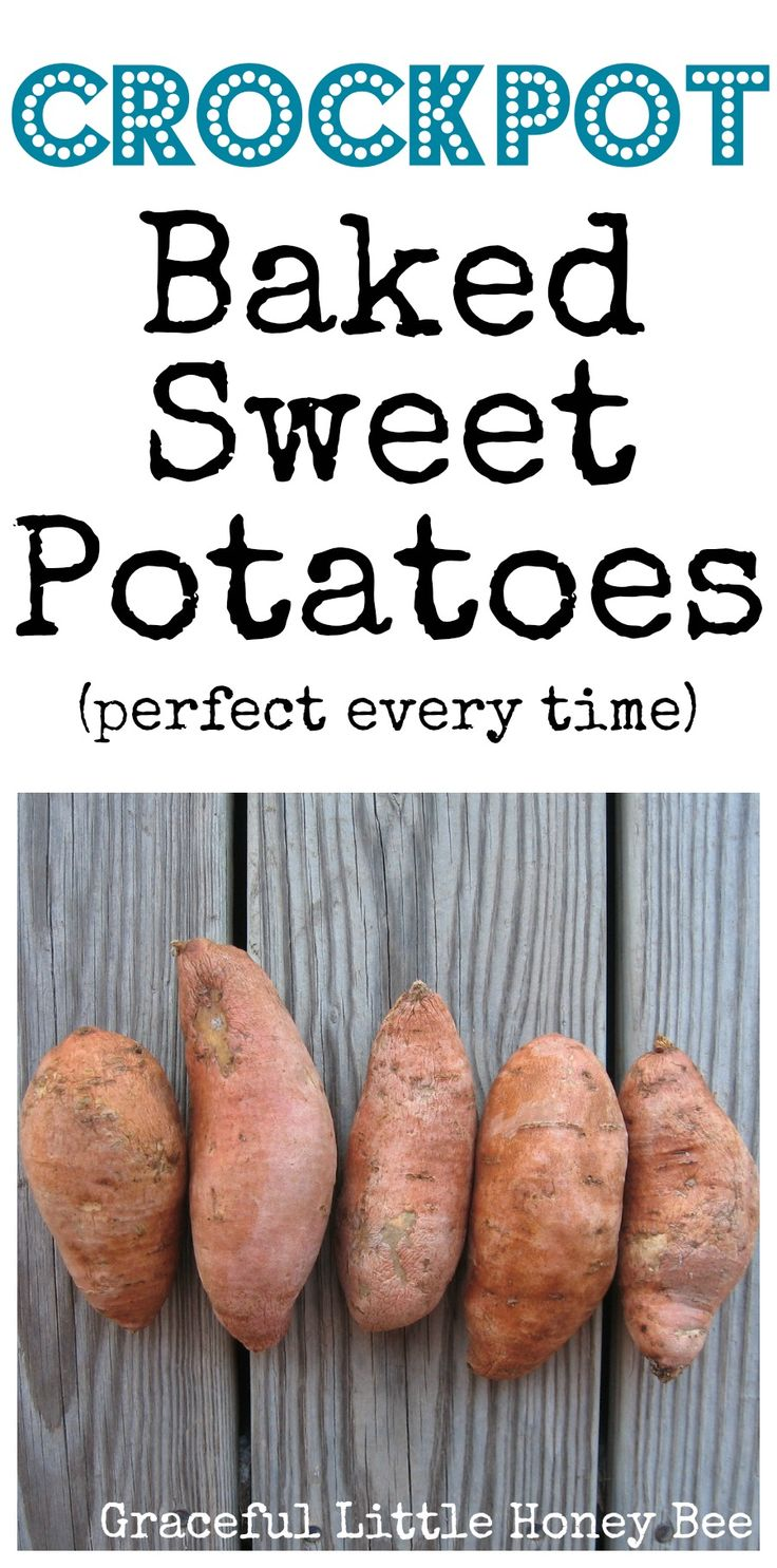 These crockpot baked sweet potatoes are simple, healthy and delicious. I hope your family enjoys them as much as mine does!