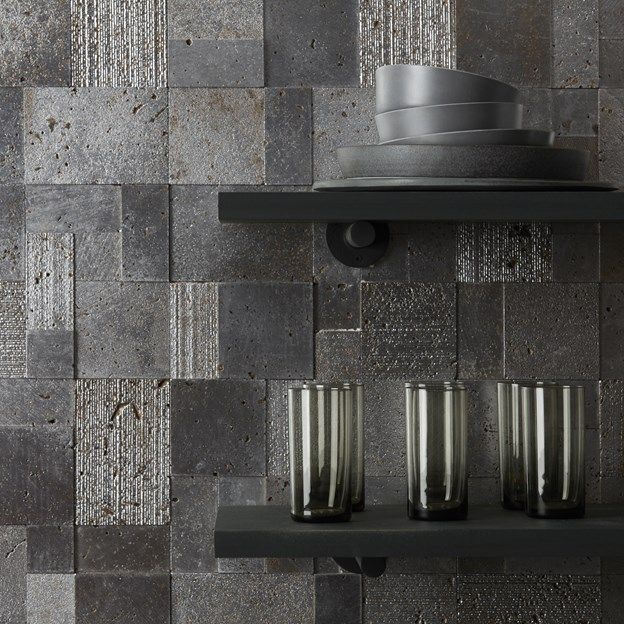 Ann Sacks Lux Mosaics We Re Loving The Trend Of Mixing Urban Grittiness With Polished Luxe Like These Mosaic Tiles And Sleek Black Shelves