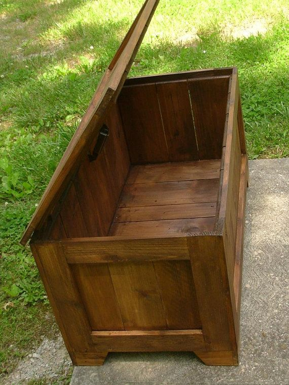 Rustic Reclaimed Cedar toy box blanket chest coffee by LuckyMargo
