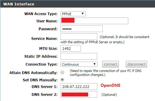 open DNS setting