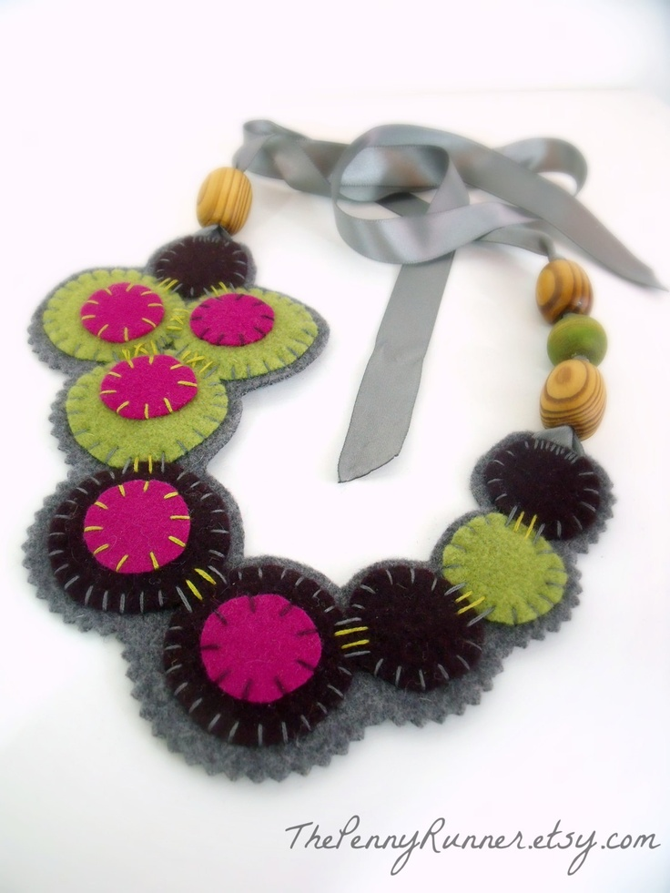 Bohemian Felt Necklace /  Embroidered Statement Necklace / Boho Chic Necklace in Pink, Plum, and Lime Green. $39.00, via Etsy.