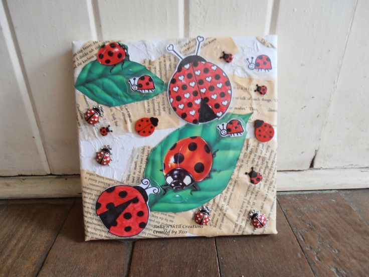 Lady bug canvass-Riss-BaRb'n'ShEllcreations