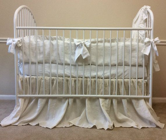 This Crib bedding set made of 100% linen, butter soft, pure, none allergies caused by other fabrics. White Linen crib bumper, 4 pieces, 10