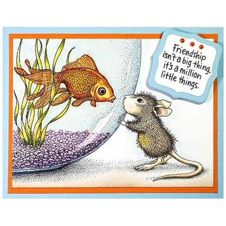 Stampendous Cling Stamp FISHY KISS Rubber UM HMCR58 House Mouse Preview Image