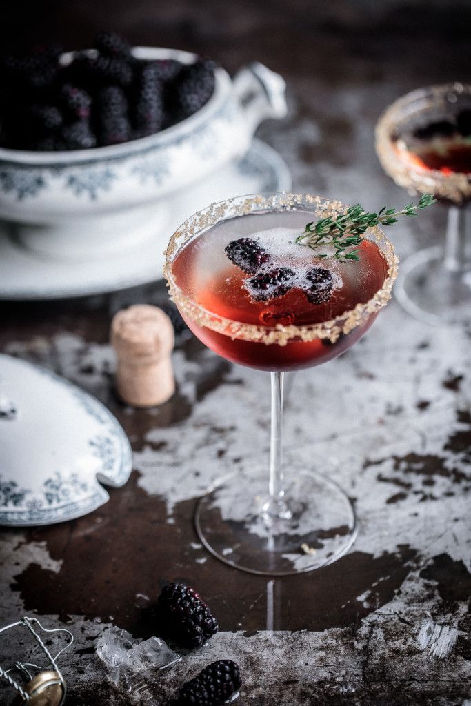 A simple blackberry & thyme champagne cocktail, a simply delightful way to start any evening! | Anisa Sabet | The Macadames | Food Styling | Food Photography | Props | Moody | Food Blogger | Recipes