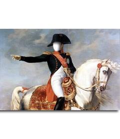 #Fotomontaje con #Napoleon #Bonaparte montado a #caballo. Pon una cara al #personaje histórico. Luego puedes descargar la imagen y buscar un #marco apropiado entre nuestra selección, o enviarla a un correo electrónico. www.fotoefectos.com