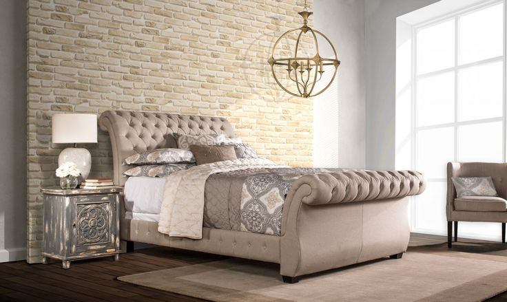Hillsdale Bombay Upholstered Sleigh Bed In King Size