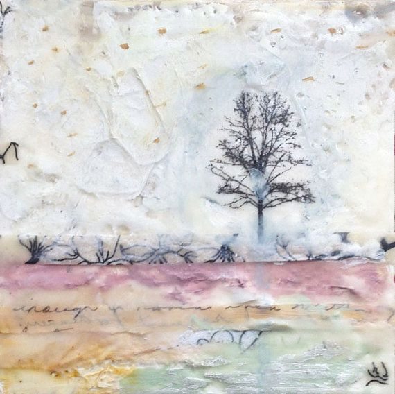 "Encaustic Art, Original Encaustic Painting, ""You Flatter Me"", Tree Art, Encaustic"