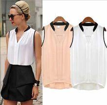 Blusas femeninas 2015 mujeres del verano ocasional OL gasa Blusas sin mangas sólido camisas mujeres Tops ropa barata Plus5XLSize WCX679(China (Mainland))