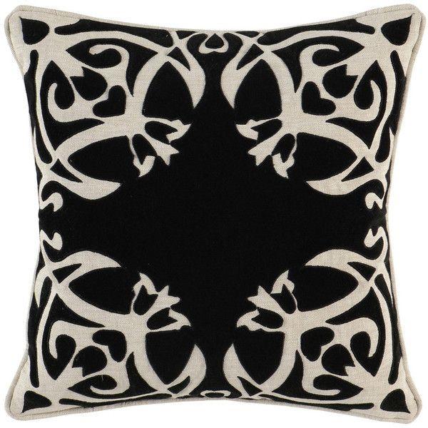 noah onyx 18x18 pillow design by villa home u20ac66 liked on polyvore black throw