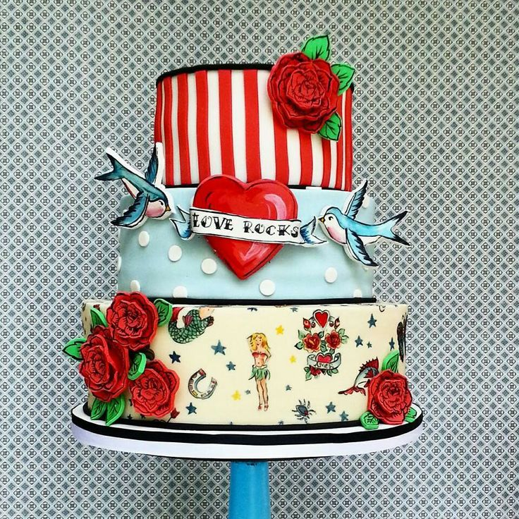 Best Tattoo Cakes Images On Pinterest Tattoo Cake - Rockabilly birthday cake