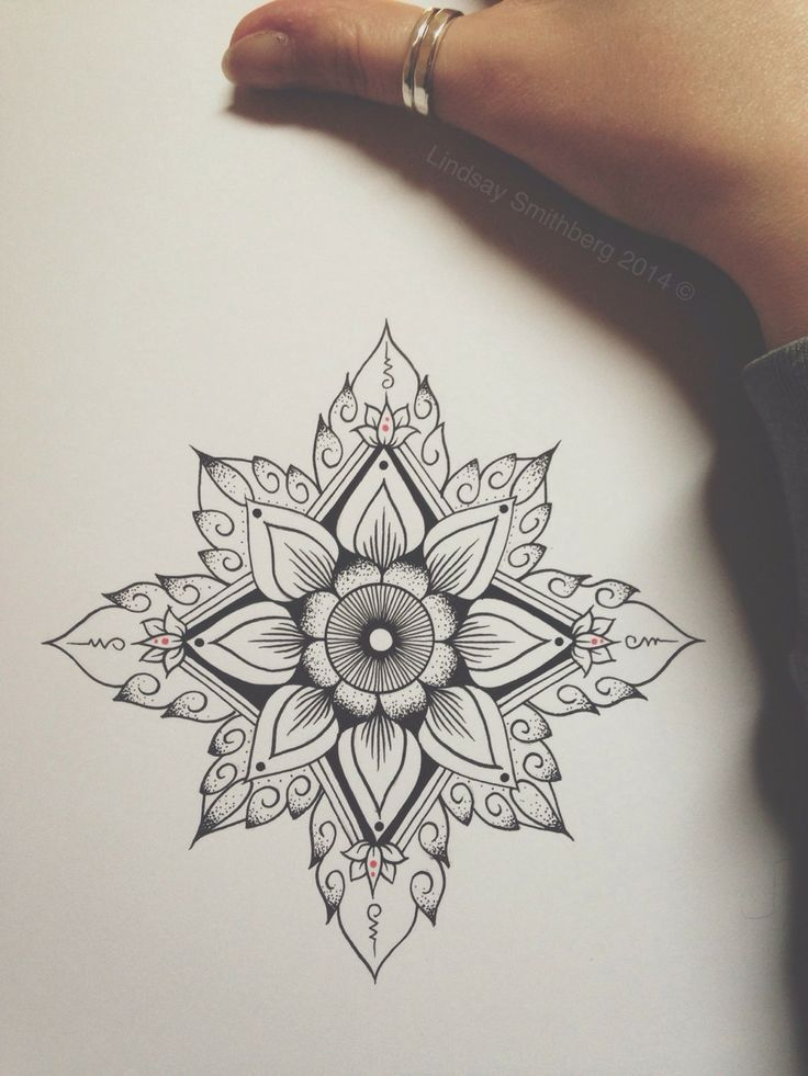 geometric flower art tattoo