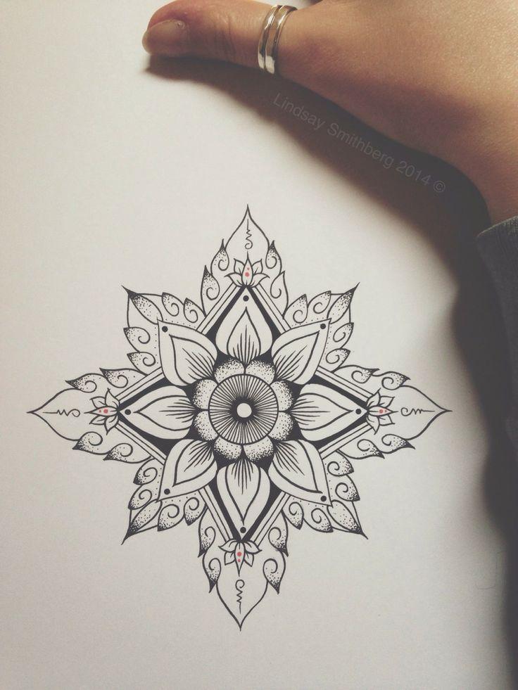 geometric flower tattoo black and white - Google Search