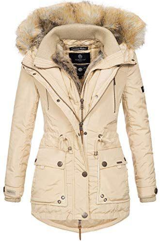 Marikoo Damen Winterjacke Kapuze Kunstfell Winter Jacke warm lang ... 9277c68852