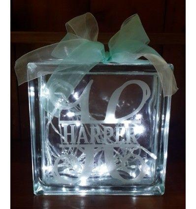 monogram glass block fairy lights