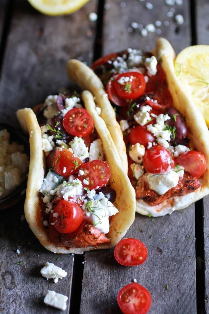 Greek Salmon Souvlaki Gyros with Tzatziki   halfbakedharvest.com