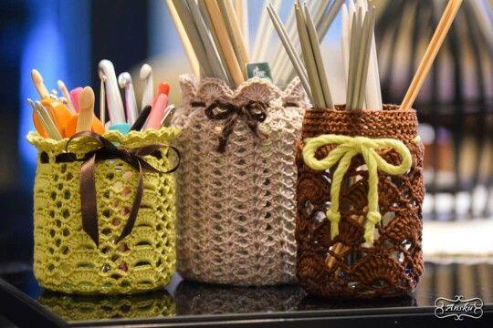 Things in order. Crochet jar covers.