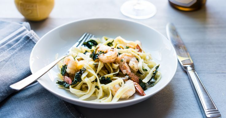 Mealtime with this easy recipe for Kale and Shrimp Scampi means (almost) instant gratification.