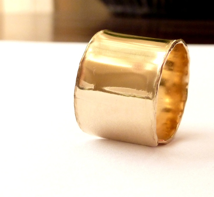 Gold Wide Band Ring Urban Handmade. $73.00, via Etsy.