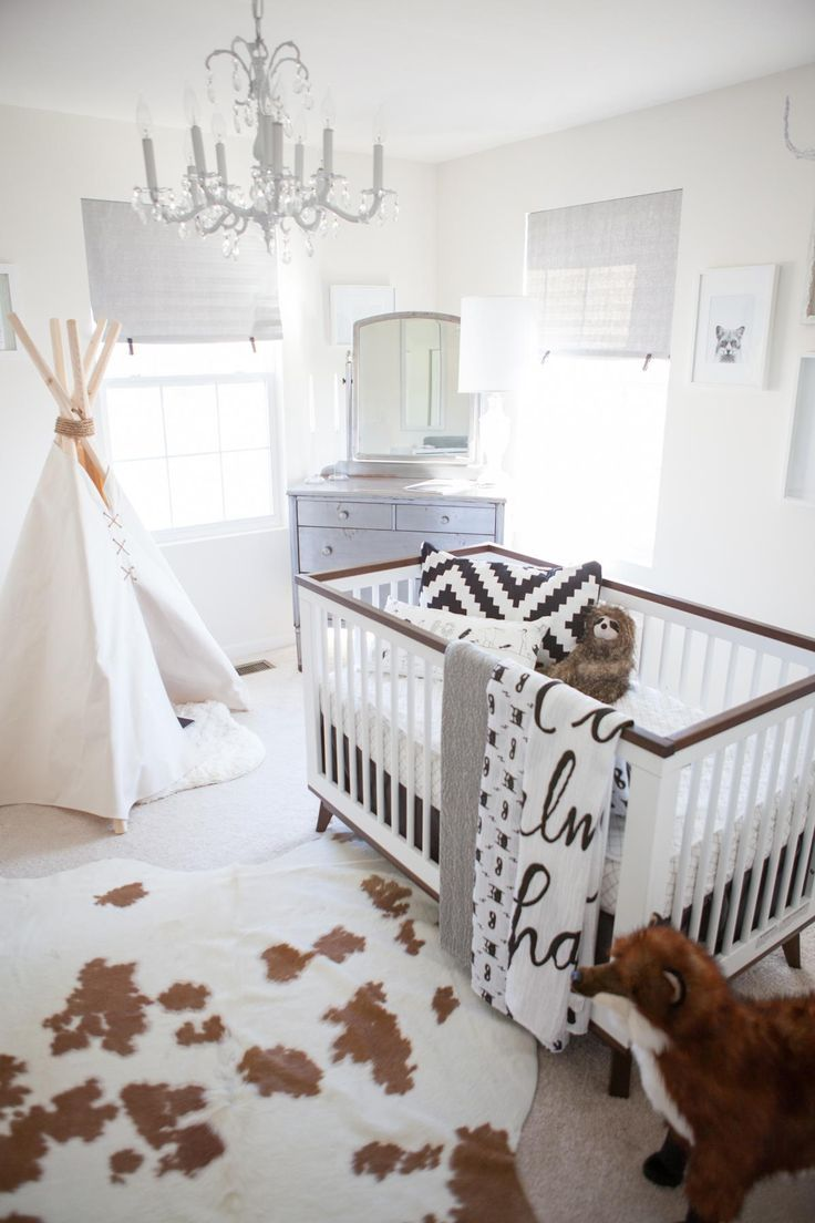 Grey and white baby room ideas - Whimsical Black And White Nursery