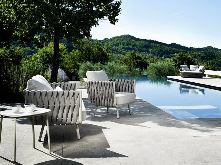 Upholstered garden armchair with armrests Tosca Collection by TRIBÙ | design Monica Armani