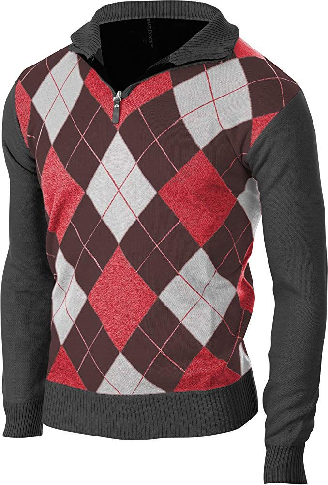 Enimay Mens Fashion Business Casual Long Sleeve Half Zip Argyle Pull Over