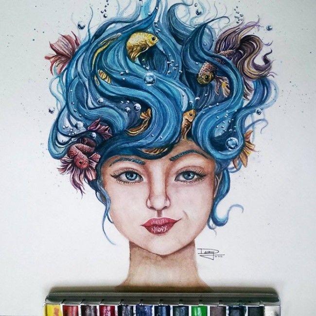 Дэни Лизет, 17-летняя мексиканская художница-самоучка, создающая потрясающие акварельные и карандашные рисунки людей и животных.