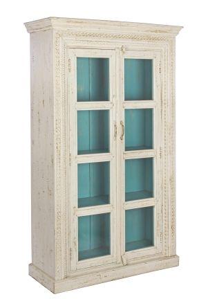 VETRINA 2A SARITA Bizzotto,  struttura legno mango. rifinitura: sovrapposizione di vernice acrilica e ad olio. effetto anticato e cerato.
