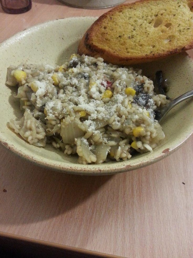 "Mushroom and sweetcorn risotto! """"  @allthecooks #recipe #risotto #mushrooms #rice #corn #dinner"