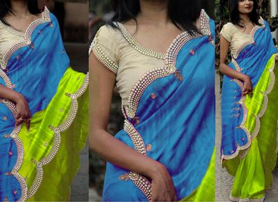 NEW LATEST SKY PARROT COLOR NYLONE SILK GEORGET EMBROIDERY WORK SAREE Sarees on Shimply.com