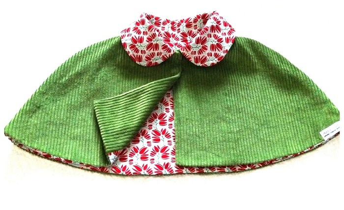 """Stunning """"HEIDI' Cape Size 2. Winter cord with contrasting collar & lining - by AppleandSoda on madeit"""