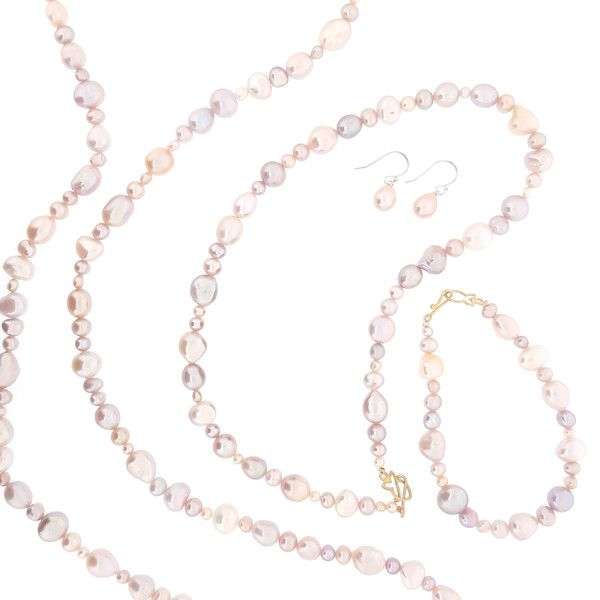 Natural Pink Fullstrand : The Courthouse Collection's take on the classic strand of pearls. An eclectic selection of shape and size makes for a more interesting piece of jewellery. Enduring design for all generations. Natural pink Freshwater Pearls featuring our heavily gold plated sterling silver fish clasp. Pearl jewelry, pearl necklace, pearl fullstrand, Australian designer, gifts for her, mother of the bride