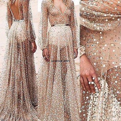 Sexy Long Boho Maxi Evening Party Dress Chiffon Dress Women Summer Beach WN  | eBay