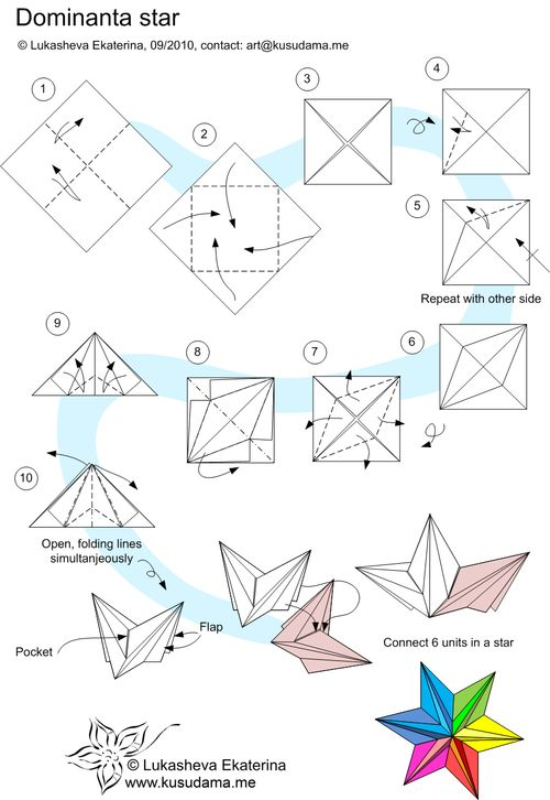 Origami Dominanta Star Folding Instructions