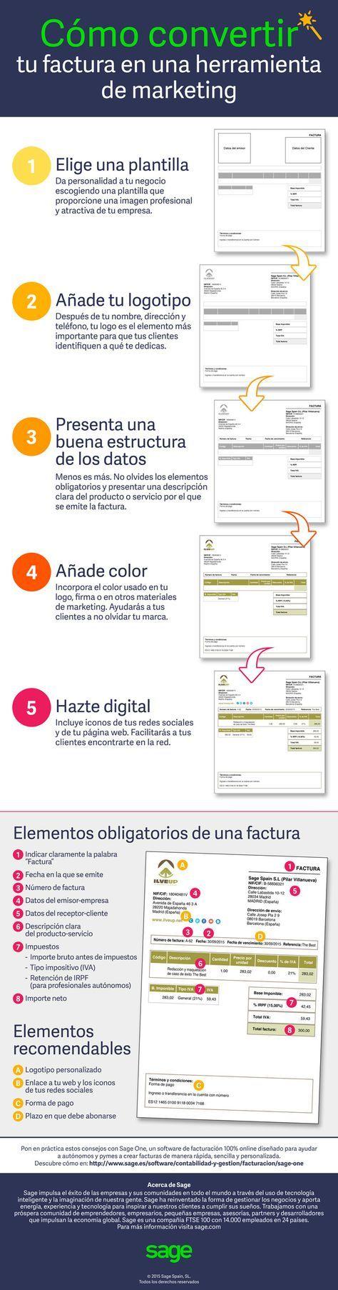 Hola: Una infografía sobre cómo convertir una factura la mejor herramienta de Marketing. Vía Un saludo
