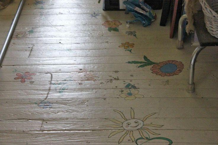 DIY Striped Painted Floor