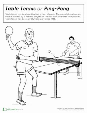 table tennis coloring page