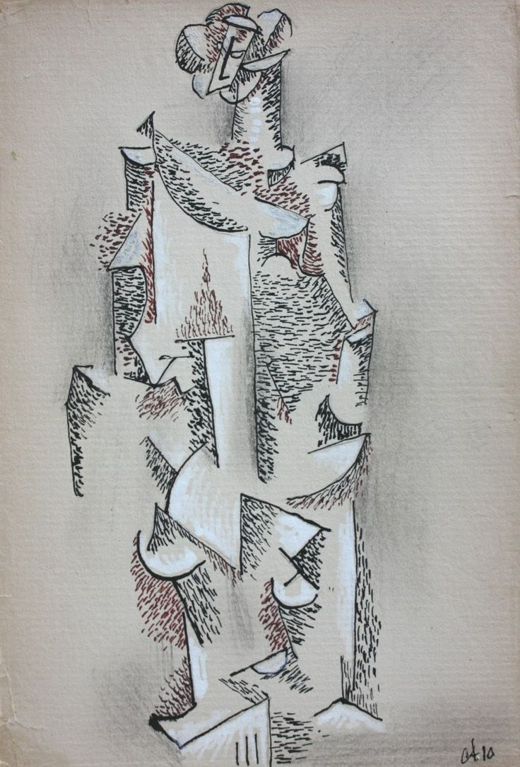 cecil touchon   Cecil Touchon: Cubist Drawing by Cecil Touchon (After an etching by ...