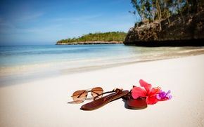 Обои paradise, берег, palms, пляж, sea, песок, море, sand, shore, beach, summer, tropical