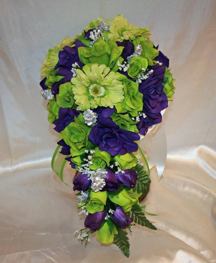 Purple Green Gerbera Daisy Bridal Bouquet Silk Wedding Flowers 21 Pc Silk W