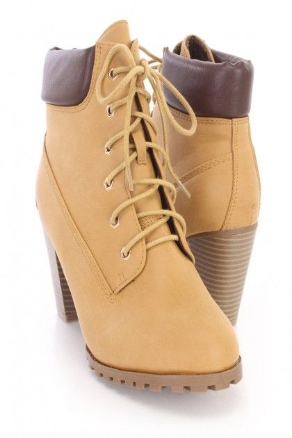 Camel Lace Up Chunky Heel Ankle Booties Nubuck
