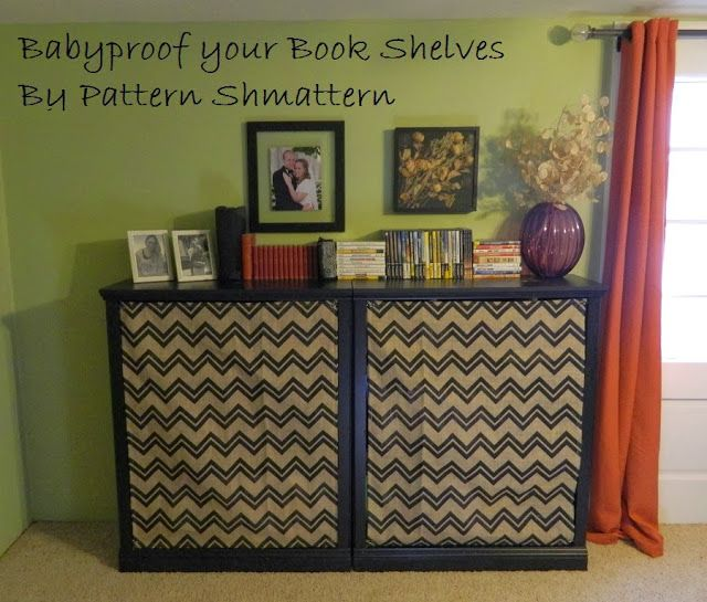 Fabric Panels to Baby Proof your Bookshelf-- By Pattern Shmattern