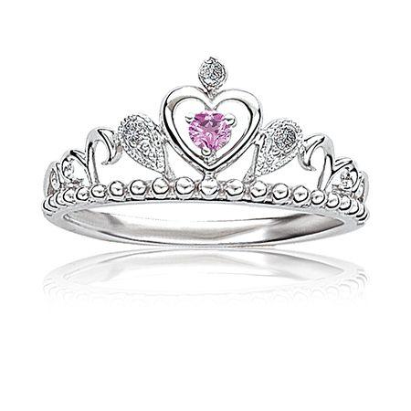 Pink Princess Diamond Tiara Ring in Sterling Silver
