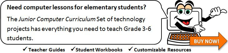 Elementary Computer Lesson Plans: Need computer lessons for elementary students? The Junior Computer Curriculum Set of technology projects has everything you need to teach Grade 3-6 students.