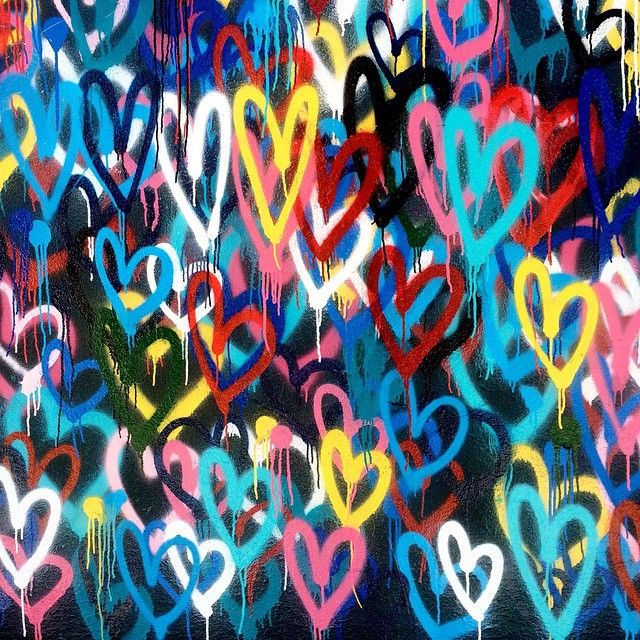 Bleeding Hearts Love Wall by James Goldcrown, NYC. #streetart #hearts #love #art #color