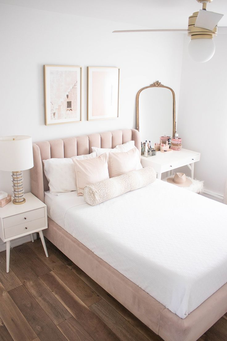 Blush And Gold Bedroom Pink Velvet Bed Pb Teen P
