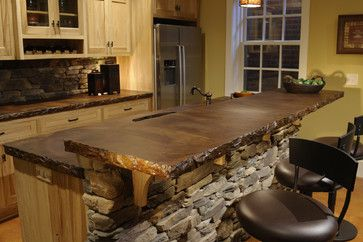 Stained Concrete Counter Top! So Rustic, Love the Color. Great for the Walkout Basement Bar : )