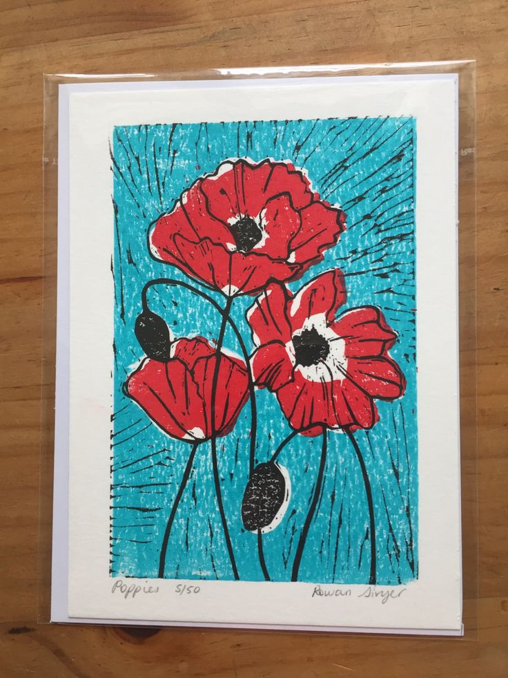 Multiple colour 5x7 linocut print of poppies, limited edition, hand printed by LittleRowanRedhead on Etsy